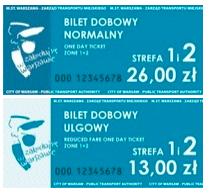Билет на сутки стрефа 1 и 2