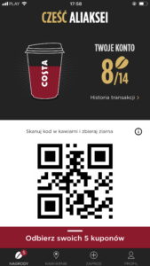 Приложение Costa Coffee Club