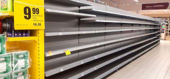 пустые полки в магазинах из-за коронавируса